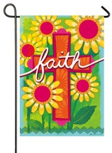 Faith, Floral Cross Flag, Small