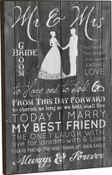 Mr. and Mrs., Bride and Groom Framed Art
