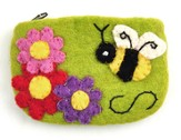 Felt Zippered Coin Purse, Bumblebee, Fair Trade Product