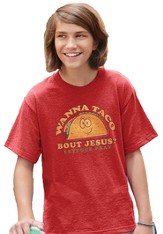 Wanna Taco Bout Jesus Shirt, Red,  Large (42-44)