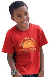 Wanna Taco Bout Jesus Shirt, Red, Youth Medium