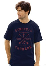 Strength and Courage Shirt, Navy, Medium (38-40)