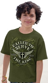 Called To Serve the King Shirt, Green, Youth Medium