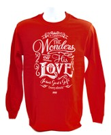 The Wonders Of His Love, Long Sleeve Shirt, Red, XX-Large