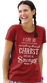 I Can Do Everything Through Christ, Missy Shirt, Red, X-Large