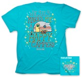 Jesus Makes Me A Happy Camper Shirt, Blue, Medium