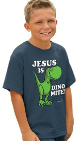 Jesus Is Dino Mite Shirt, Blue, Youth Medium