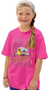 Jesus Makes Me A Happy Camper Shirt, Pink, Youth Medium