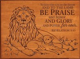Lion and Lamb, To Him Who Sits On the Throne Plaque