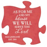 Personalized, Puzzle Magnet, As For Me and My House, Red