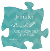 Personalized, Puzzle Magnet, Be Still, Teal
