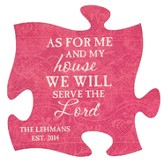 Personalized, Puzzle Magnet, As For Me and My House,   Pink