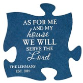 Personalized, Puzzle Magnet, As For Me and My House, Blue