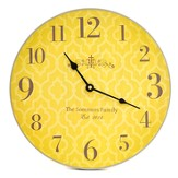 Personalized, Wall Clock with Large Numbers, Cross,  Yellow