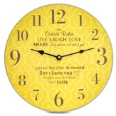 Personalized, Wall Clock with Large Numbers, Family  Rules, Yellow