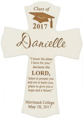 Personalized, Wall Cross, Graduation, Small, White