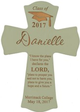 Personalized, Wall Cross, Graduation, Small, Green