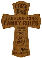 Personalized, Wall Cross, Family Rules, Large, Cherry