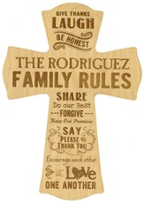 Personalized, Wall Cross, Family Rules, Large, Maple