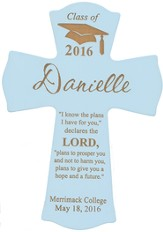 Personalized, Wall Cross, Graduation, Large, Blue