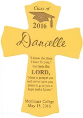 Personalized, Wall Cross, Graduation, Large, Yellow