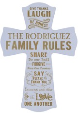 Personalized, Wall Cross, Family Rules, Large, Purple