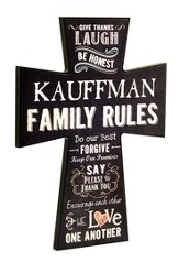 Personalized, Wall Cross, Large, Family Rules, Black