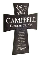Personalized, Wall Cross, Faith Hope Love, Large, Chalkboard Print, Black