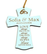 Personalized, Mini Cross Ornament, Love Never Fails,  Blue