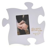 Personalized, Puzzle Photo Frame, Two Become One,Purple