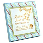 Personalized, Square Plaque, A Baby is a Gift From  Above, Small, Blue with Stripes