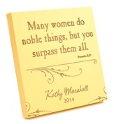 Personalized, Many Women Do Noble Thigns, Square Plaque, Small, Yellow