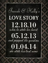Personalized, Chalkboard, Love Story, Large, Black