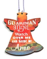 Personalized, Car Charm, Guardian Angel, Red