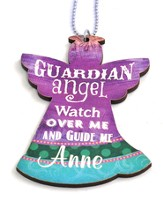 Personalized, Car Charm, Guardian Angel, Purple