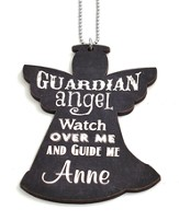 Personalized, Car Charm, Guardian Angel, Black