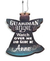 Personalized, Car Charm, Guardian Angel, Teal