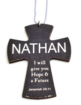 Personalized, Car Charm, Cross, Jeremiah 29:11, Black