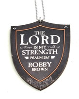 Personalized, Car Charm, Shield,The Lord is My Strength