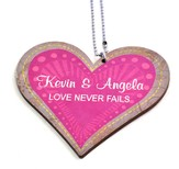 Personalized, Car Charm, Heart, Love Never Fails