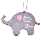 Personalized, Car Charm, Elephant, Rejoice In The Lord