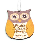 Personalized, Car Charm, Owl,Rejoice in the Lord,Yellow