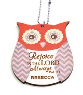 Personalized, Car Charm, Owl,Rejoice in The Lord,Orange