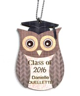 Personalized, Car Charm, Owl, Graduation