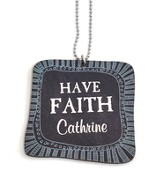Personalized, Car Charm, Square, Faith