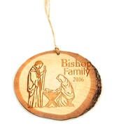 Personalized, Ornament, Cut Out Birch Log, Nativity