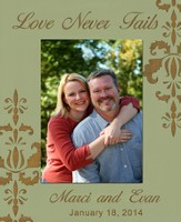 Personalized, Photo Frame, Love Never Fails, 5x7, Tan