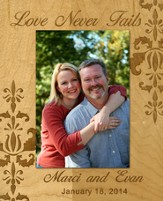 Personalized, Photo Frame, Love Never Fails, 5x7, Maple
