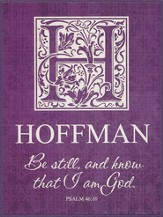 Personalized, Plaque, Be Still and Know That I Am God, Small, Purple
