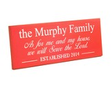 Personalized, Plaque, As For Me and My House, Long, Red
